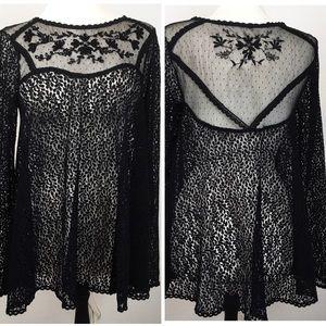 Free People Sheer Lace W/ Beading Babydoll Dress